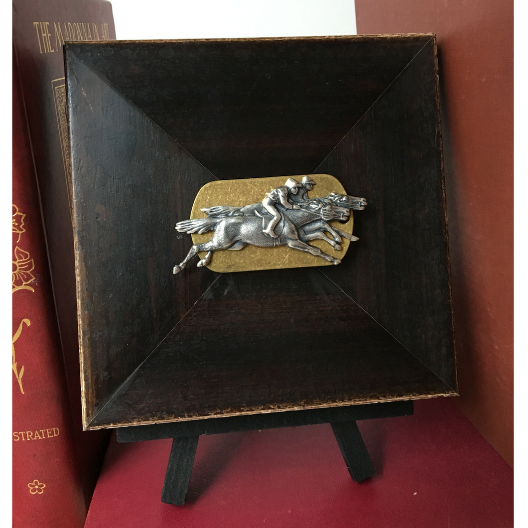 Gallery Art Small Wooden Square Antique Brass Silver Race Horses