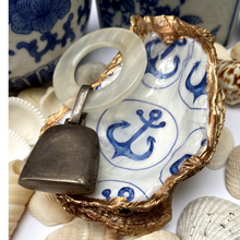 Load image into Gallery viewer, Oyster Shell Dish,  Blue White, Anchor Design, Beach Decor, Hostess Gift