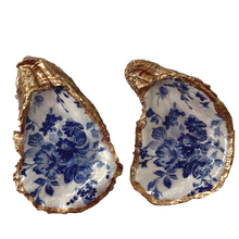 Signature Oyster Shell Jewelry Ring Dish Blue White Floral Design