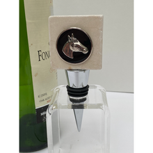 Marble Bottle Stopper Equestrian Silver Horse Head Black Enamel