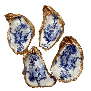Signature Oyster Shell Jewelry Ring Dish Blue White Chinese Lady Chinoiserie