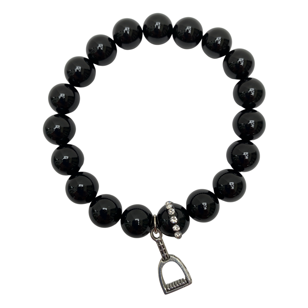 Black Beaded Bracelet With Equestrian Stirrup Charm