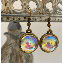 Load image into Gallery viewer, Earrings, Aurora Borealis Cabochon, Antique Gold, Handmade in USA