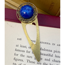 Load image into Gallery viewer, Bookmark, Solid Brass, Lapis Cabochon, Book-clip, Gift for Book Lover, Elegant Bookmark