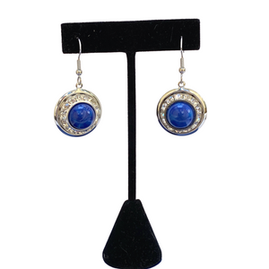 Earrings Faux Lapis, Swarovski Crystal, French Ear Wire