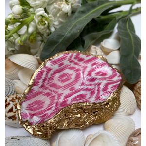 Oyster Shell Jewelry Dish, Pink Ikat Design, Gold Leaf Edges, Hand-made