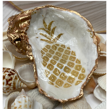 Load image into Gallery viewer, Oyster Shell Jewelry Dish, Pineapple Art Design