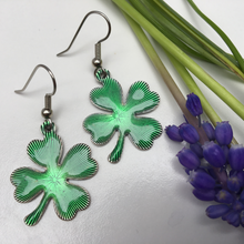 Load image into Gallery viewer, Earring, Irish Emerald Green Shamrock Enamel, French Wire, Handmade in USA