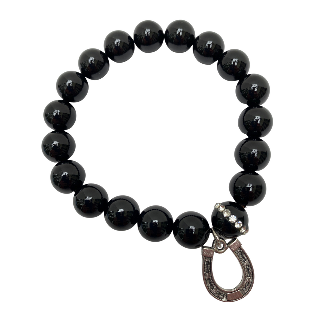 Black Beaded Bracelet With Equestrian Horse Shoe Charm