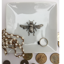 Load image into Gallery viewer, Trinket Tray, White Porcelain Dish, Large Silver Bee