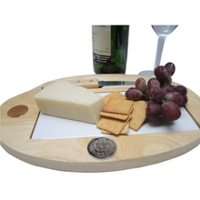 Custom Wooden and Tile Cheese board Personalized Silver Medallion with logo, photo, art