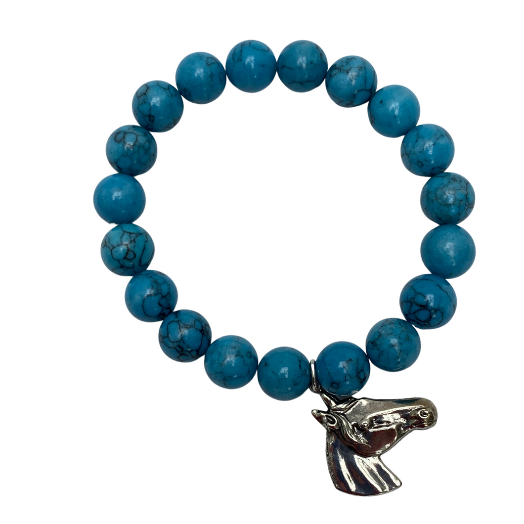 Turquoise Beaded Bracelet with Silver Equestrian Horse Head Charm