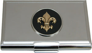 Business Card Holder Silver Black Gold Fleur de Lis