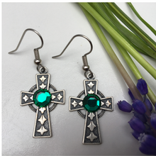 Irish Celtic Cross Earrings Silver with Emerald Crystal