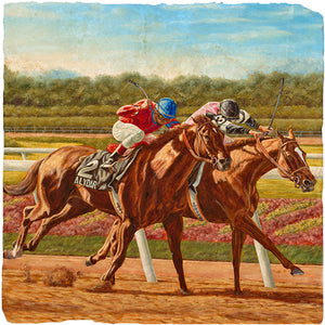 Coaster Marble Horse Race Art