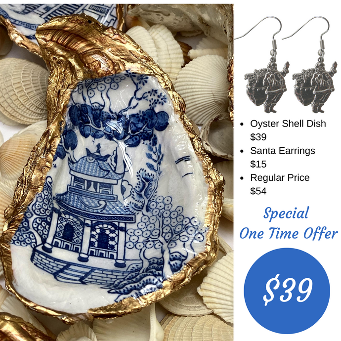 Oyster Shell Jewelry Dish,  Christmas Special Offer, Santa Earrings