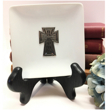 Load image into Gallery viewer, Trinket Tray, White Porcelain Dish,  Silver Cross