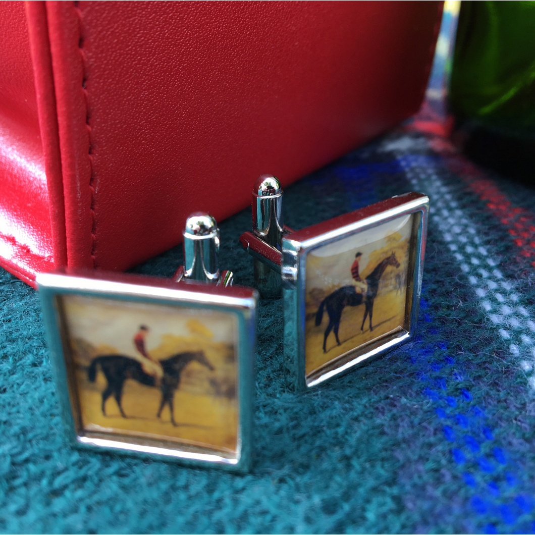 Cuff Links,  Vintage Art, Racehorse Iroquois