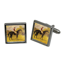Load image into Gallery viewer, Cuff Links,  Vintage Art, Racehorse Iroquois
