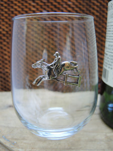 Stemless Wine Glass, Horse and Rider, Equestrian Jumper