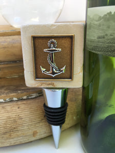Marble Bottle Stopper Silver Anchor