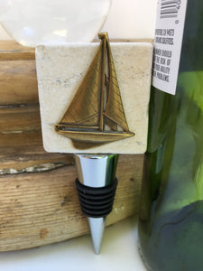 Marble Bottle Stopper Vintage Sailboat