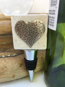 Marble Bottle Stopper Silver Heart