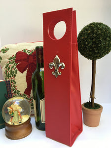 Beverage Carrier Red Faux Leather Silver Fleur de Lis