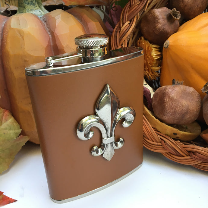 Flask Brown Leather With Silver Fleur de Lis