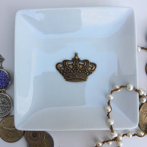 Trinket Tray Dish Crown Antique Gold
