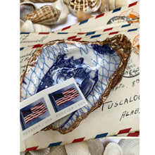Load image into Gallery viewer, Oyster Shell Dish,  Sea Shell Art, Blue and White, Hostess Gift