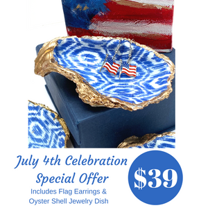 Special July 4th offer Blue and White Oyster Shell Dish Flag earrings