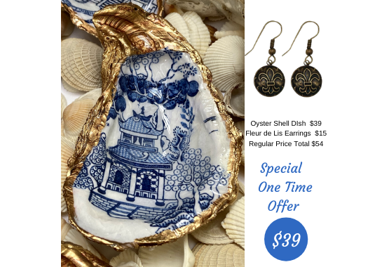 Special One Time Offer Oyster Shell Dish and Fleur de lis earrings 2020