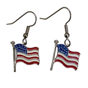 Earrings, USA Flag, Enamel, Handmade in USA