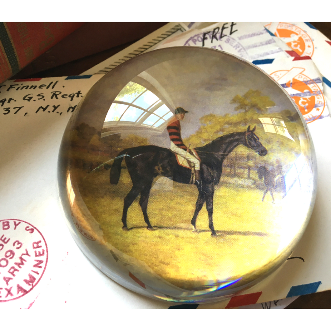 Paperweight Crystal Domed Vintage Race Horse