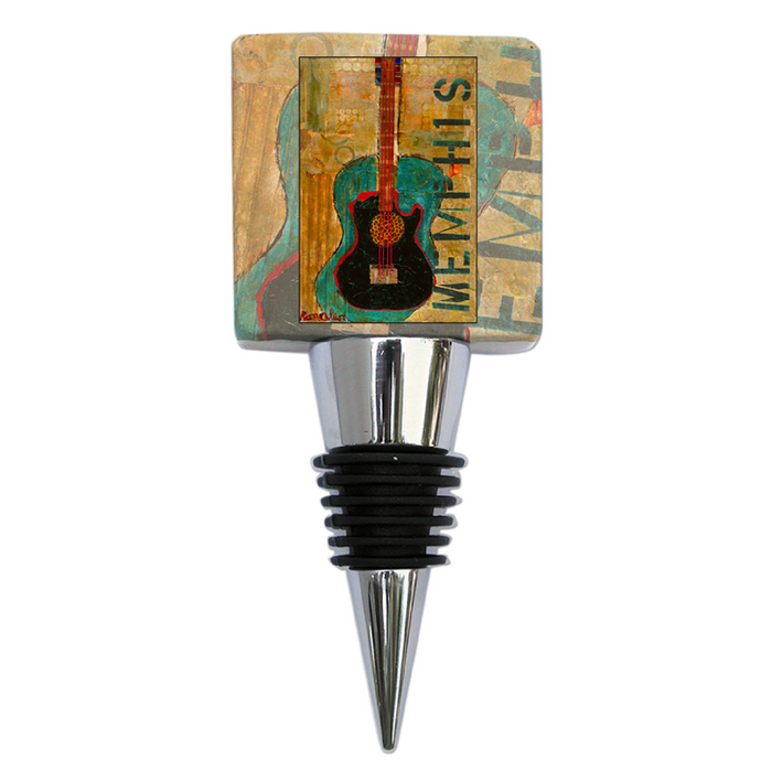 Bottle Stopper Marble Ron Olson Memphis Gold Guitar Art