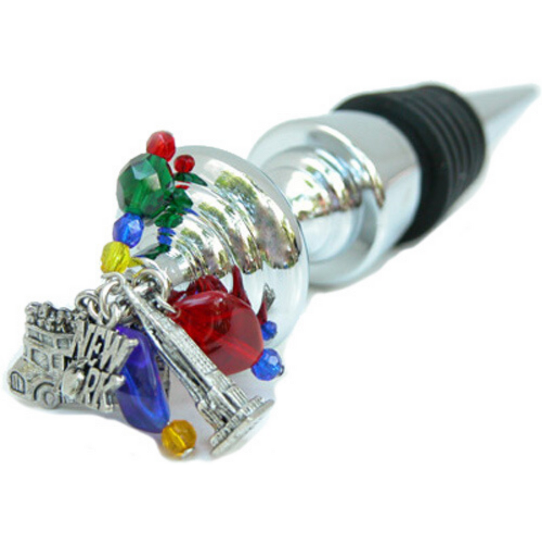 Wine Bottle Stopper,  New York Theme, Charms and Beads, Handmade, New York Lover Gift