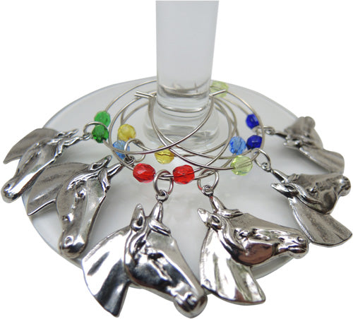 Equestrian Wine Charms Silver Horse Head