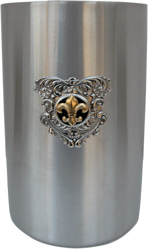 Beverage Cooler Silver Medallion Black Gold Fleur de Lis
