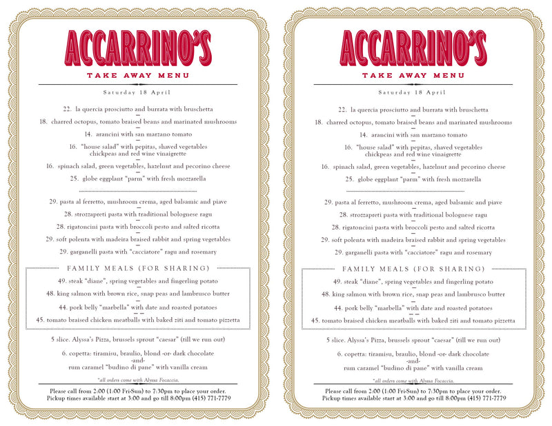velocio Accarrino menu