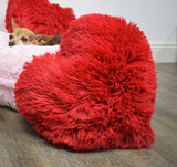 Red Shag Heart Pillow