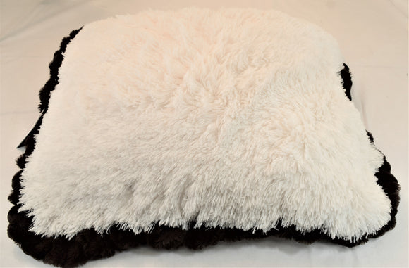 Snow Leopard & Cream Shag with Chocolate mink Travel Bed/Blanket