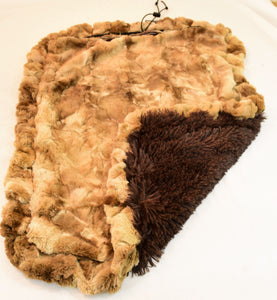 Brown Rabbit & Chocolate Shag Travel Bed/Blanket