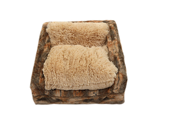 Rusty Fox & Camel Shag Sofa Bed
