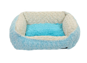 Baby Blue Rosebud with Blue Shag Lounge Bed