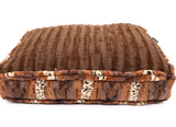 Exotic Fur Brown/Gold with Brown Mink Rectangle Bed