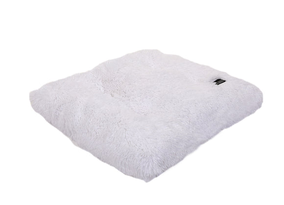 White Shag Pillow Bed
