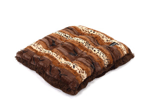Exotic Fur Brown/Gold with Chocolate Shag Pillow Bed
