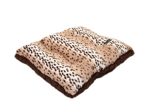 Snow Leopard with Brown Shag Pillow Bed