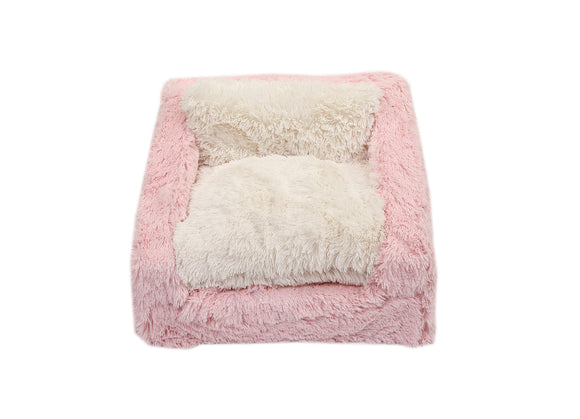 Light Pink & Cream Shag Sofa Bed